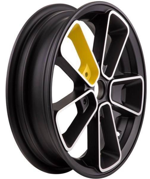 """Cerchione anteriore/posteriore 12"""" per Vespa GTS/GTS Super/GTV/GT 60/GT/GT L 125-300ccm, nero/giallo"""