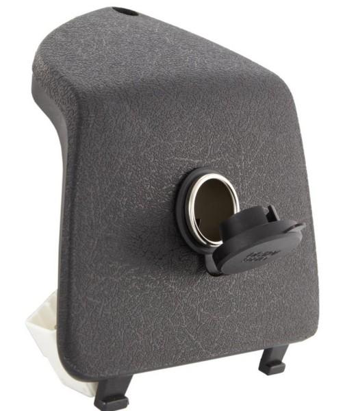 Coperchio portaoggetti sinistro con accendisigari 12V per Vespa GTS/GTS Super/GTV/GT, nero
