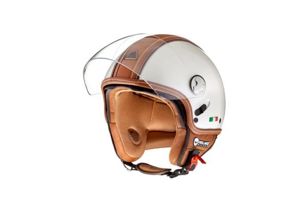 Helmo Milano Demi Jet, PelleDura Premium, bianco, marrone