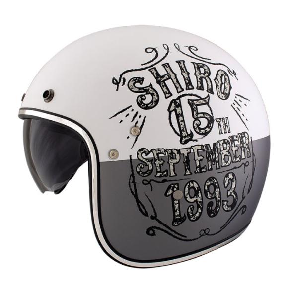 Shiro Casco Jet, SH235, Born, grigio/bianco/opaco