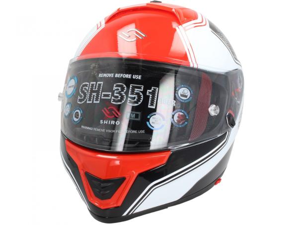 Shiro Casco Integrale, SH351, Fiber, F4, rosso