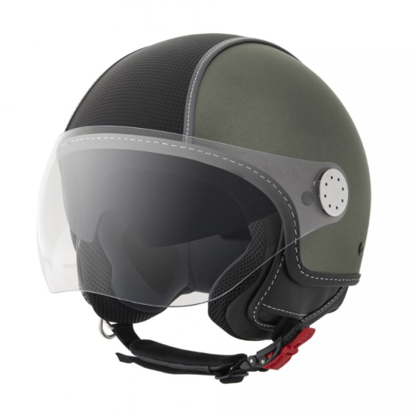 Piaggio casco Demi Jet , Carbonskin, verde militare, opaco