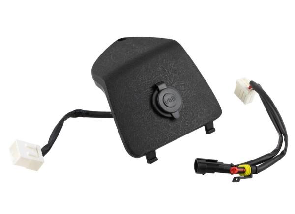 Coperchio portaoggetti sinistro con connessione USB per Vespa GTS/GTS Super/GTV/GT, nero