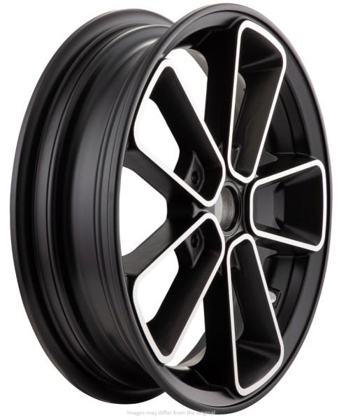 """Cerchione anteriore/posteriore 12"""" per Vespa GTS/GTS Super/GTV/GT 60/GT/GT L 125-300ccm, nero con bordo argento"""