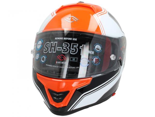 Shiro Casco Integrale, SH351, Fiber, F4, arancia